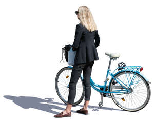 woman with a blue bike standing