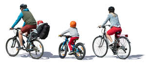family of four riding bicycles