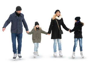 family with two kids skating hand in hand