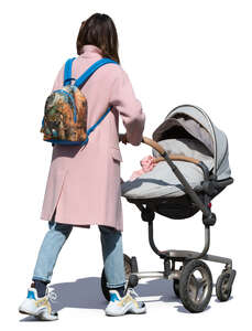 woman with a baby stroller walking