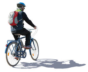 sidelit cyclist with a helmet