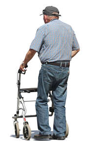 old man walking with a walking frame