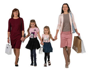 mother and grandmother with two kids coming from shopping