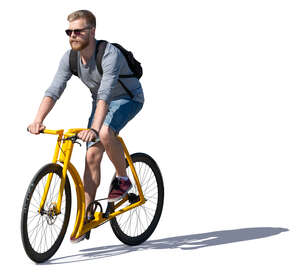 man riding a trendy yellow bike