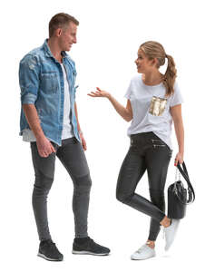 two young people standing and talking