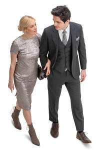 couple in formal party clothes walking seen from above