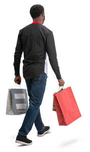 black man with many shopping bags walking