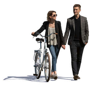 woman with a bike walking hand in hand with herboyfriend