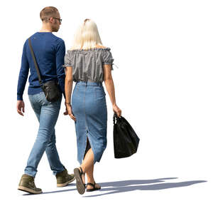 man and woman walking outdoors