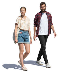 cut out young man and woman walking on a summer day