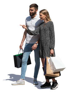 cut out man and woman with shopping bags standing and looking at smth