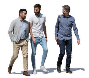 three men walking and talking