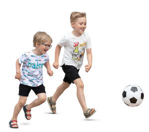 two cut out boys running happily