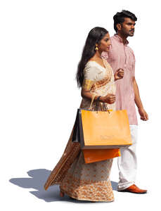 cut out indian couple with shopping bags walking