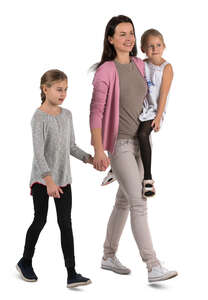 cut out woman and two girls walking hand in hand