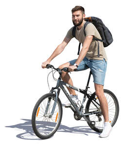 cut out young man with a backpack stopping while riding a bike