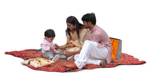 cut out indian family having a picnic