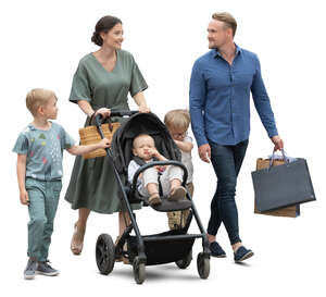 cut out family with three kids and a stroller walking on the street