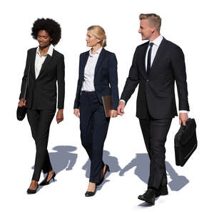 cut out group of three business people walking