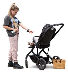 cut out young woman with a baby stroller standing