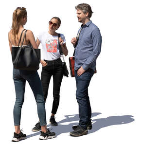 cut out group of three people standing and talking