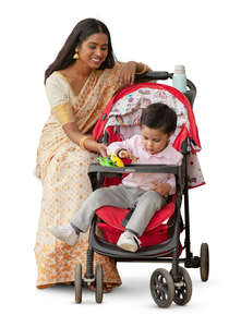 cut out indian woman with her son sitting sitting and playing