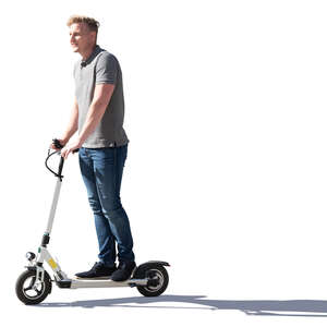 cut out sidelit man riding an electric scooter