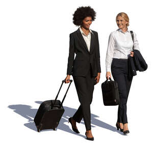 two cut out  travelling businesswomen walking