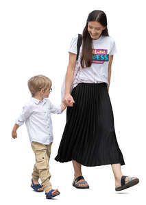 cut out mother and son walking hand in hand