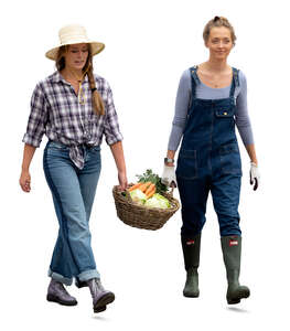 two cut out women walking and carrying a vegetable basket