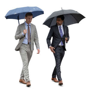 two cut out businessmen with umbrellas walking on a rainy day