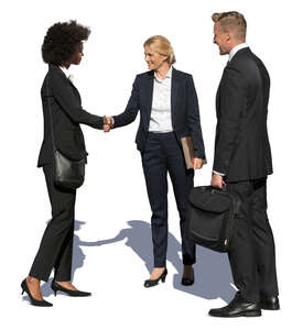 cut out group of businesspeople standing and greeting each other
