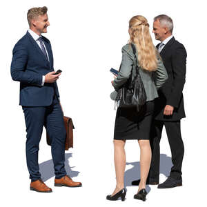 three cut out businesspeople standing and talking