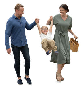 cut out man and woman walking and swinging their son by the arms