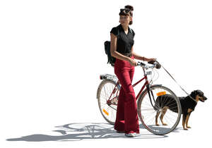cut out teenage girl with a bicycle and a dog standing
