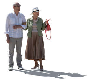 cut out elderly backlit couple standing