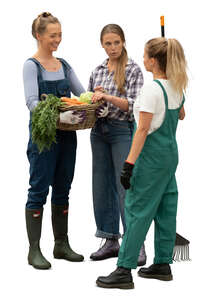 cut out three women standing in a garden and talking