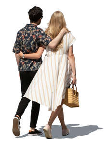 cut out couple walking on a sunny summer day