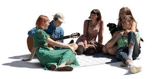 cut out group of young people sitting in a park and playing guitar