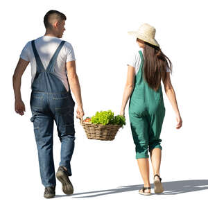 cut out man and woman walking and carrying a box of vegetables