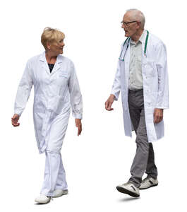 two cut out doctors walking and talking