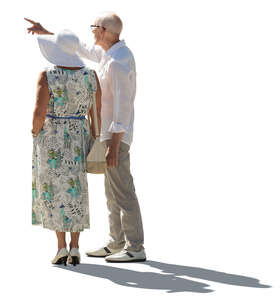 cut out elderly man and woman standing and looking at smth