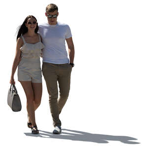 cut out backlit couple walking happily