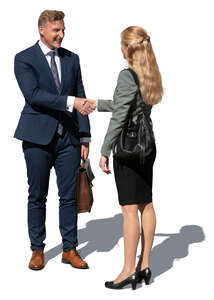 cut out businessman and businesswoman standing and shaking hands