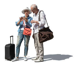 cut out elderly couple with suitcases standing and checking their phone