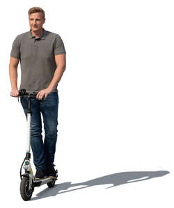 cut out man riding an electric scooter