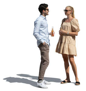 cut out man and woman standing and talking while drinking refreshing drinks