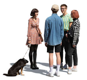 four cut out young people and a dog standing in a group and talking