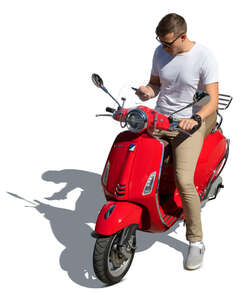 cut out man riding a red vespa scooter seen from above