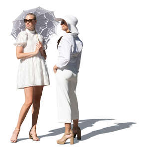 two cut out fancy women in white standing and talking